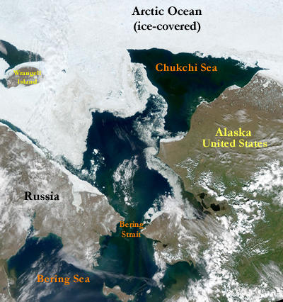 Chukchi Sea and Arctic map
